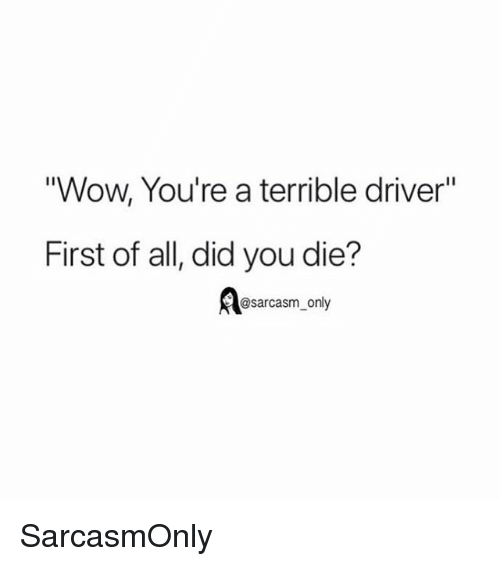 """Funny, Memes, and Wow: Wow, You're a terrible driver""""  First of all, did you die?  @sarcasm_only SarcasmOnly"""