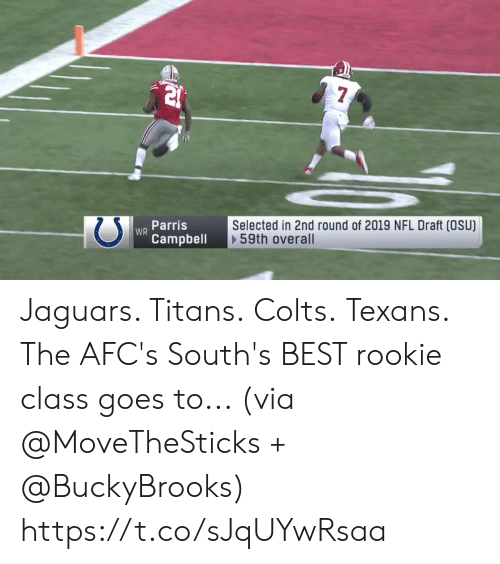Indianapolis Colts, Memes, and Nfl: WR Parris  Selected in 2nd round of 2019 NFL Draft (OSU)  59th overall  Campbell Jaguars.  Titans. Colts. Texans.  The AFC's South's BEST rookie class goes to... (via @MoveTheSticks + @BuckyBrooks) https://t.co/sJqUYwRsaa