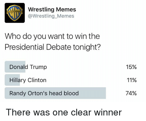 Wrestling Memes: Wrestling Memes  @Wrestling Memes  Who do you want to win the  Presidential Debate tonight?  Donald Trump  Hillary Clinton  Randy Orton's head blood  15%  11%  74% There was one clear winner