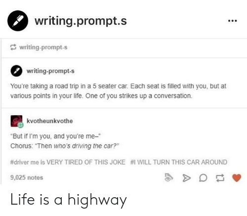 """Chorus: writing.prompt.s  writing-prompt-s  writing-prompt-s  You're taking a road trip in a 5 seater car. Each seat is filled with you, but at  various points in your life. One of you strikes up a conversation.  kvotheunkvothe  But if I'm you, and you're me-""""  Chorus: """"Then who's driving the car?""""  #driver me is VERY TIRED OF THIS JOKE #1 WILL TURN THIS CAR AROUND  9,025 notes  2 Life is a highway"""