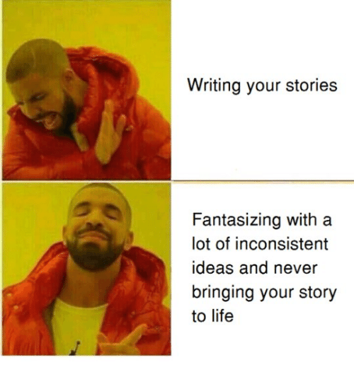 inconsistent: Writing your stories  Fantasizing with a  lot of inconsistent  ideas and never  bringing your story  to life