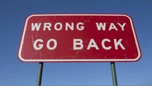Back,  Way, and  Wrong: WRONG WAY  GO BACK