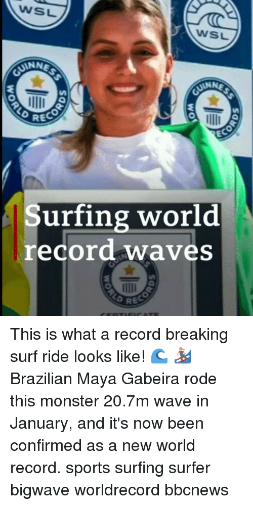 Memes, Monster, and Sports: WSL  WSL  ANN  RECO  EC  Surfing world  record waves This is what a record breaking surf ride looks like! 🌊 🏄‍♀️ Brazilian Maya Gabeira rode this monster 20.7m wave in January, and it's now been confirmed as a new world record. sports surfing surfer bigwave worldrecord bbcnews