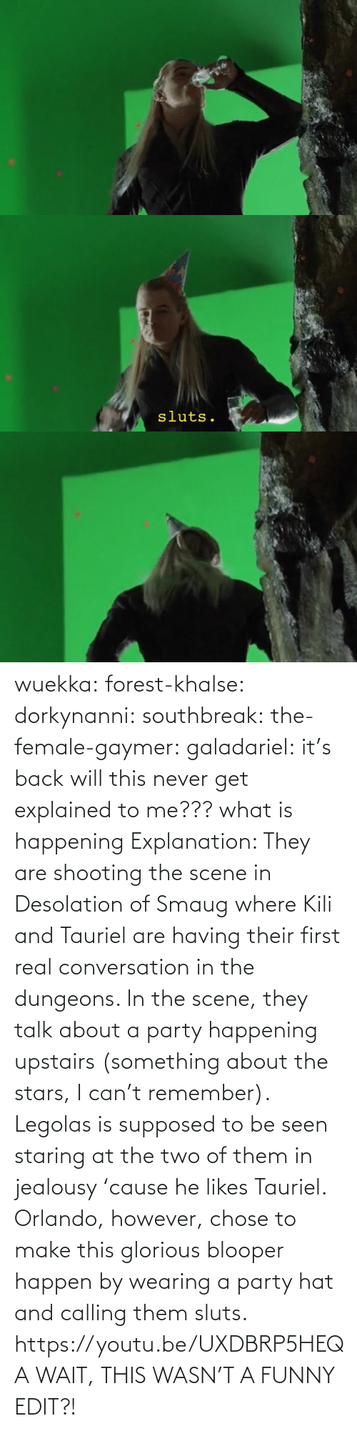 origin: wuekka: forest-khalse:   dorkynanni:  southbreak:   the-female-gaymer:   galadariel:  it's back   will this never get explained to me???    what is happening    Explanation:  They are shooting the scene in Desolation of Smaug where Kili and Tauriel are having their first real conversation in the dungeons.  In the scene, they talk about a party happening upstairs (something about the stars, I can't remember). Legolas is supposed to be seen staring at the two of them in jealousy 'cause he likes Tauriel.  Orlando, however, chose to make this glorious blooper happen by wearing a party hat and calling them sluts.    https://youtu.be/UXDBRP5HEQA    WAIT, THIS WASN'T A FUNNY EDIT?!