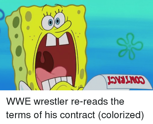 wwe wrestlers: WWE wrestler re-reads the terms of his contract (colorized)