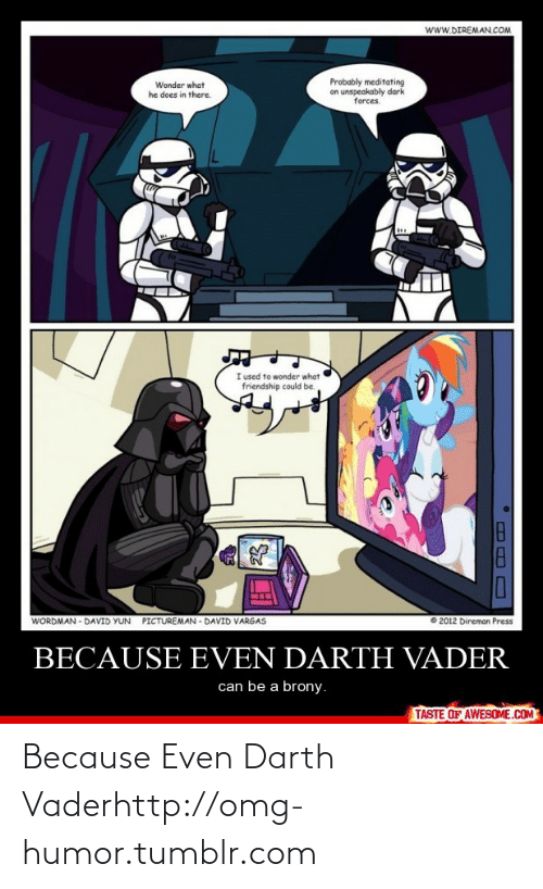 brony: www.DIREMAN.COM  Probably meditating  on unspeakably dark  forces.  Wonder what  he does in there.  I used to wonder what  friendship could be.  WORDMAN - DAVID YUN  PICTUREMAN - DAVID VARGAS  2012 Direman Press  BECAUSE EVEN DARTH VADER  can be a brony.  TASTE OF AWESOME.COM Because Even Darth Vaderhttp://omg-humor.tumblr.com