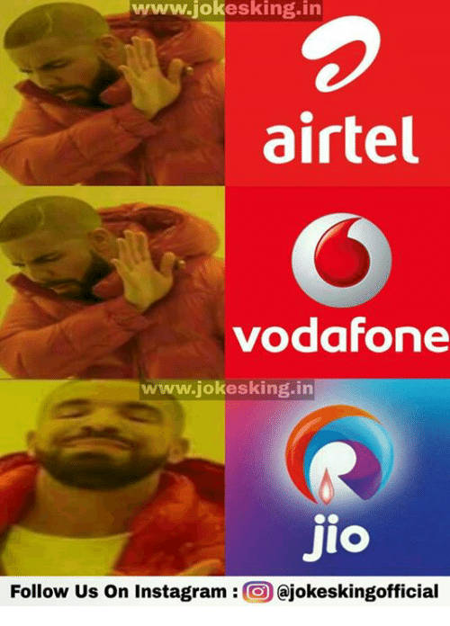 Instagram, Memes, and 🤖: www.jok  esking in  airtel  vodafone  www.jokesking.in  Jio  Follow us on Instagram  O Cajokeskingofficial
