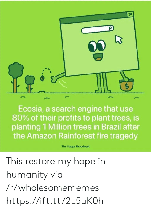 Brazil: X  $  Ecosia, a search engine that use  80% of their profits to plant trees, is  planting 1 Million trees in Brazil after  the Amazon Rainforest fire tragedy  The Happy Broadcast  ( This restore my hope in humanity via /r/wholesomememes https://ift.tt/2L5uK0h