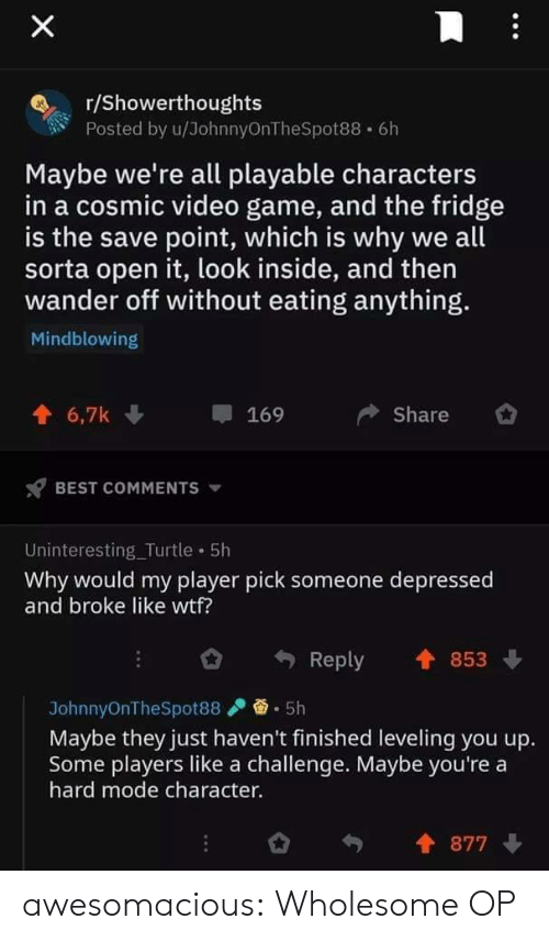 fridge: X  r/Showerthoughts  Posted by u/JohnnyOnTheSpot88 6h  Maybe we're all playable characters  in a cosmic video game, and the fridge  is the save point, which is why we all  sorta open it, look inside, and then  wander off without eating anything.  Mindblowing  6,7k  Share  169  BEST COMMENTS  Uninteresting_Turtle 5h  Why would my player pick someone depressed  and broke like wtf?  853  Reply  5h  JohnnyOnTheSpot88  Maybe they just haven't finished leveling you up.  Some players like a challenge. Maybe you're a  hard mode character.  877 awesomacious:  Wholesome OP
