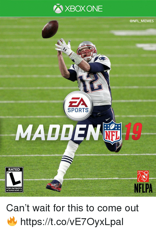 Football, Memes, and Nfl: XBOX ONE  @NFL_MEMES  ZA  SPORTS  .MADDENE,-  RATED  NFLPA  FOR PATRIOTS  IN SUPER BOWL LII Can't wait for this to come out 🔥 https://t.co/vE7OyxLpal