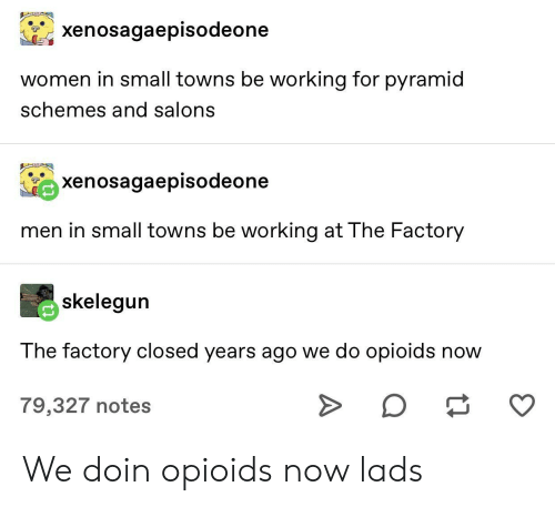 towns: xenosagaepisodeone  women in small towns be working for pyramid  schemes and salons  xenosagaepisodeone  men in small towns be working at The Factory  skelegun  The factory closed years ago we do opioids now  O  79,327 notes We doin opioids now lads