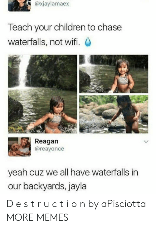 Children, Dank, and Memes: @xjaylamaex  Teach your children to chase  waterfalls, not wifi. O  Reagan  @reayonce  yeah cuz we all have waterfalls in  our backyards, jayla D e s t r u c t i o n by aPisciotta MORE MEMES