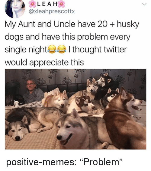 "Dogs, Memes, and Tumblr: @xleahprescottx  My Aunt and Uncle have 20 + husky  dogs and have this problem every  single nightI thought twitter  would appreciate this  2 positive-memes:  ""Problem"""