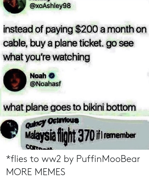 Bikini Bottom: @xoAshley98  instead of paying $200 a month on  cable, buy a plane ticket. go see  what you're watching  Noah  @Noahasf  what plane goes to bikini bottom  Quincy Octrvious  Malaysia fight 370if remember  com *flies to ww2 by PuffinMooBear MORE MEMES