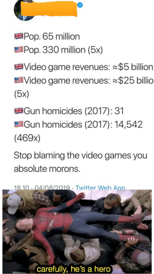 pop: XPOP. 65 million  Pop. 330 million (5x)  Video game revenues: $5 billion  Video game revenues: $25 billio  (5x)  KĠun homicides (2017): 31  Gun homicides (2017): 14,542  (469x)  Stop blaming the video games you  absolute morons.  18 10 · 04/08/2019 · Twitter Web App.  carefully, he's a hero)