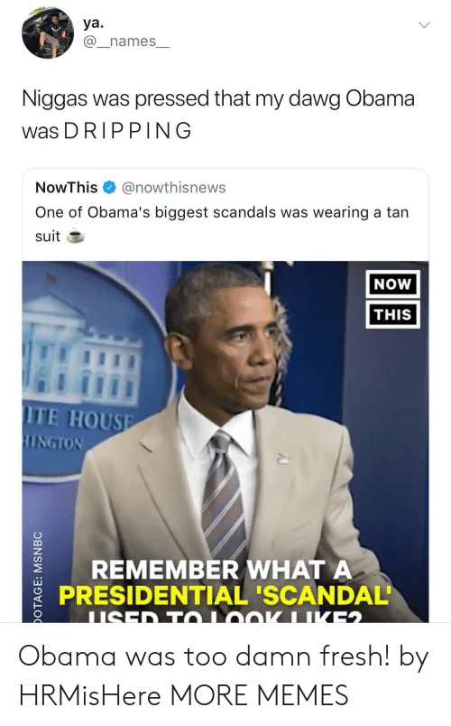 Dank, Fresh, and Memes: ya.  @_names_  Niggas was pressed that my dawg Obama  was DRIPPING  NowThis @nowthisnews  One of Obama's biggest scandals was wearing a tan  suit E  NOW  THIS  ITE HOUSE  REMEMBER WHATA  PRESIDENTIAL 'SCANDAL Obama was too damn fresh! by HRMisHere MORE MEMES