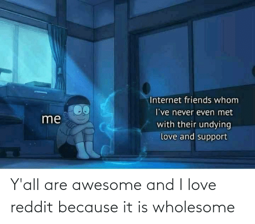 Awesome: Y'all are awesome and I love reddit because it is wholesome