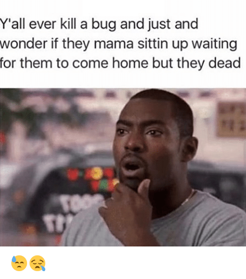 bugging: Y'all ever kill a bug and just and  wonder if they mama sittin up waiting  for them to come home but they dead 😓😪