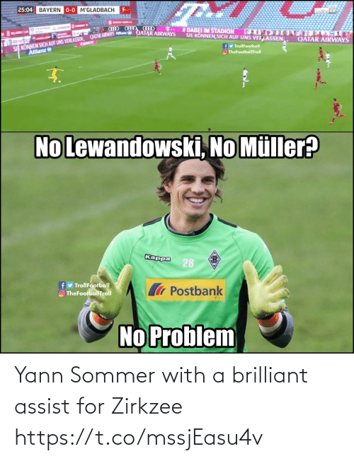 Brilliant: Yann Sommer with a brilliant assist for Zirkzee https://t.co/mssjEasu4v