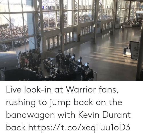 durant: YEEN  220-72 Live look-in at Warrior fans, rushing to jump back on the bandwagon with Kevin Durant back https://t.co/xeqFuu1oD3