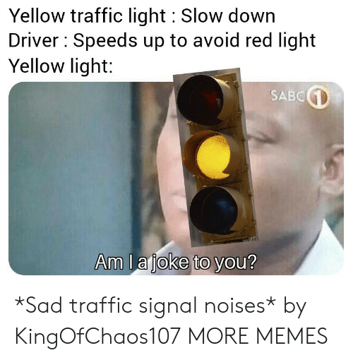 Dank, Memes, and Target: Yellow traffic light Slow down  Driver Speeds up to avoid red light  Yellow light:  SABC  Am la joke to you? *Sad traffic signal noises* by KingOfChaos107 MORE MEMES