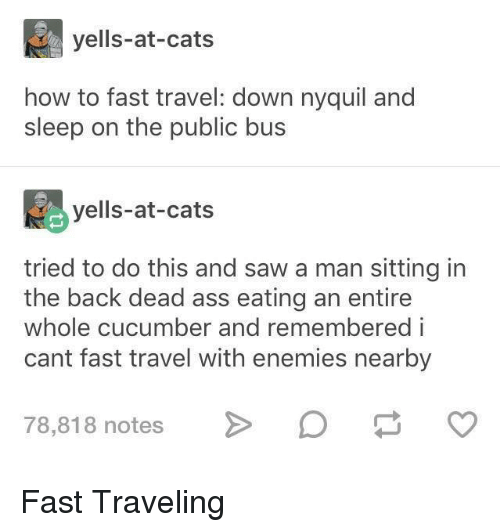 NyQuil: yells-at-cats  how to fast travel: down nyquil and  sleep on the public bus  yells-at-cats  tried to do this and saw a man sitting in  the back dead ass eating an entire  whole cucumber and remembered i  cant fast travel with enemies nearby  78,818 notes> Fast Traveling
