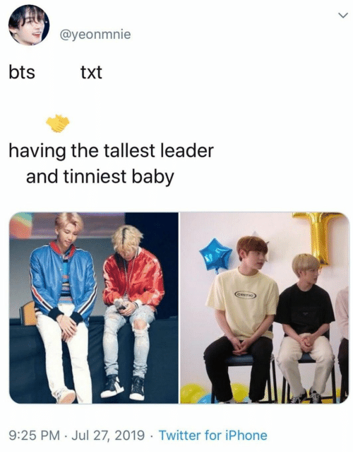 Iphone, Twitter, and Bts: @yeonmnie  bts  txt  having the tallest leader  and tinniest baby  GRITIC)  9:25 PM Jul 27, 2019 Twitter for iPhone