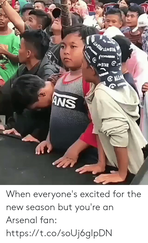 Arsenal, Soccer, and New: yeRs  ANS When everyone's excited for the new season but you're an Arsenal fan:  https://t.co/soUj6gIpDN