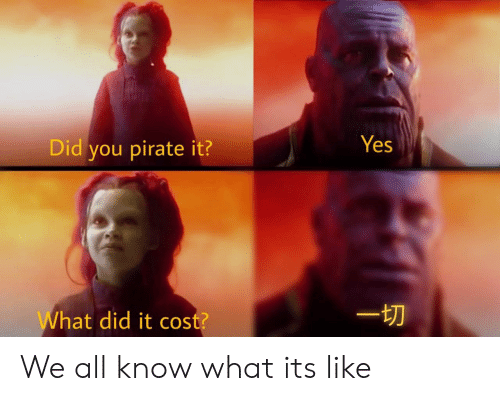 Pirate: Yes  Did you pirate it?  hat did it cost? We all know what its like
