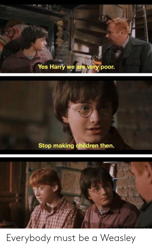 Children, Yes, and Harry: Yes Harry we are very poor.  Stop making children then. Everybody must be a Weasley