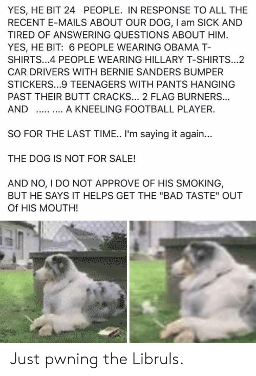 "Bad, Bernie Sanders, and Butt: YES, HE BIT 24 PEOPLE. IN RESPONSE TO ALL THE  RECENT E-MAILS ABOUT OUR DOG, I am SICK AND  TIRED OF ANSWERING QUESTIONS ABOUT HIM  YES, HE BIT: 6 PEOPLE WEARING OBAMA T-  SHIRTS...4 PEOPLE WEARING HILLARY T-SHIRTS...2  CAR DRIVERS WITH BERNIE SANDERS BUMPER  STICKERS...9 TEENAGERS WITH PANTS HANGING  PAST THEIR BUTT CRACKS... 2 FLAG BURNER...  A KNEELING FOOTBALL PLAYER.  AND  SO FOR THE LAST TIME. I'm saying it again...  THE DOG IS NOT FOR SALE!  AND NO, I DO NOT APPROVE OF HIS SMOKING,  BUT HE SAYS IT HELPS GET THE ""BAD TASTE"" OUT  Of HIS MOUTH! Just pwning the Libruls."