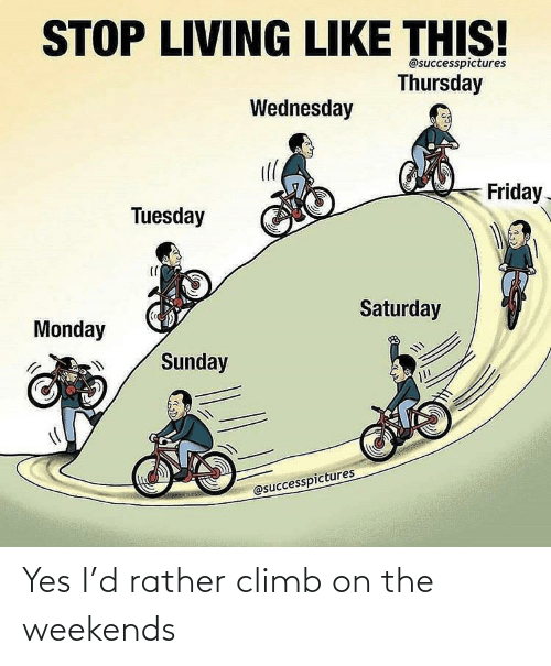 Weekends: Yes I'd rather climb on the weekends