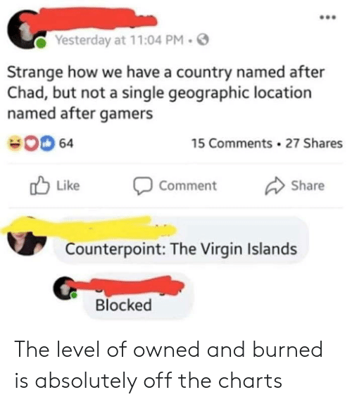 Virgin, Charts, and Single: Yesterday at 11:04 PM.  Strange how we have a country named after  Chad, but not a single geographic location  named after gamers  00 64  15 Comments 27 Shares  Like Comment Share  Counterpoint: The Virgin Islands  Blocked The level of owned and burned is absolutely off the charts