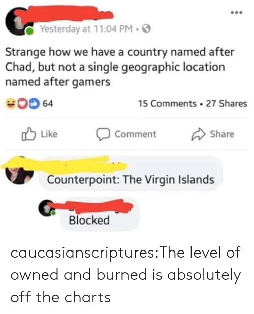 Tumblr, Virgin, and Blog: Yesterday at 11:04 PM.  Strange how we have a country named after  Chad, but not a single geographic location  named after gamers  00 64  15 Comments 27 Shares  Like Comment Share  Counterpoint: The Virgin Islands  Blocked caucasianscriptures:The level of owned and burned is absolutely off the charts