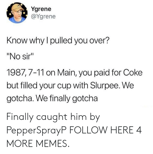 "7/11, Dank, and Memes: Ygrene  @Ygrene  Know why l pulled you over?  ""No sir  1987,7-11 on Main, you paid for Coke  but filled your cup with Slurpee. We  gotcha. We finally gotcha Finally caught him by PepperSprayP FOLLOW HERE 4 MORE MEMES."