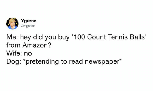"No Dog: Ygrene  @Ygrene  Me: hey did you buy '100 Count Tennis Balls'  from Amazon?  Wife: no  Dog: ""pretending to read newspaper*"