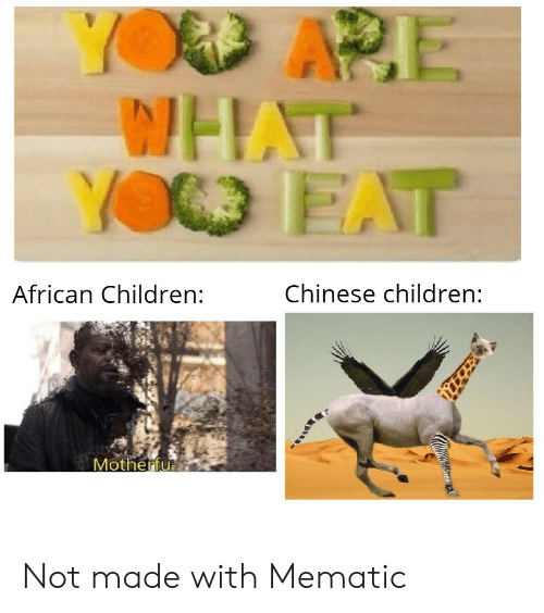 Children, Yo, and Chinese: YOD APE  WHAT  YO EAT  Chinese children:  African Children:  Motherfu Not made with Mematic