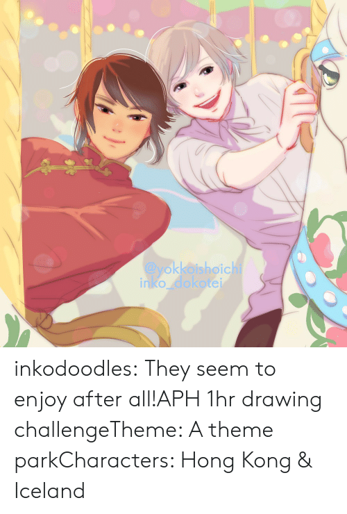 Target, Tumblr, and Blog: @yokkoishoichi  inko dokotei inkodoodles:  They seem to enjoy after all!APH 1hr drawing challengeTheme: A theme parkCharacters: Hong Kong & Iceland