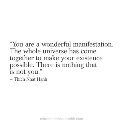 """Not You: """"You are a wonderful manifestation  The whole universe has come  together to make your existence  possible. There is nothing that  is not you.  - Thích Nhát Hạnh  extramadness.tumblr.com"""