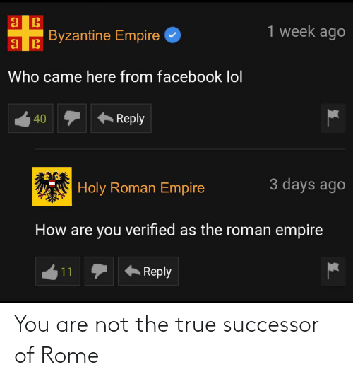 Not The: You are not the true successor of Rome
