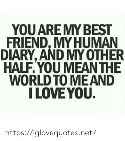 Best Friend, Love, and I Love You: YOU AREMY BEST  FRIEND, MY HUMAN  DIARY, AND MY OTHER  HALF.YOU MEAN THE  WORLD TO MEAND  I LOVE YOU. https://iglovequotes.net/