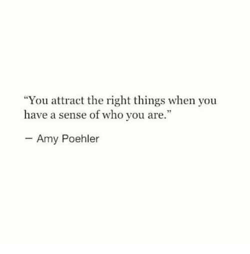 """Amy Poehler, Who, and Amy: """"You attract the right things when you  have a sense of who you are.""""  Amy Poehler"""
