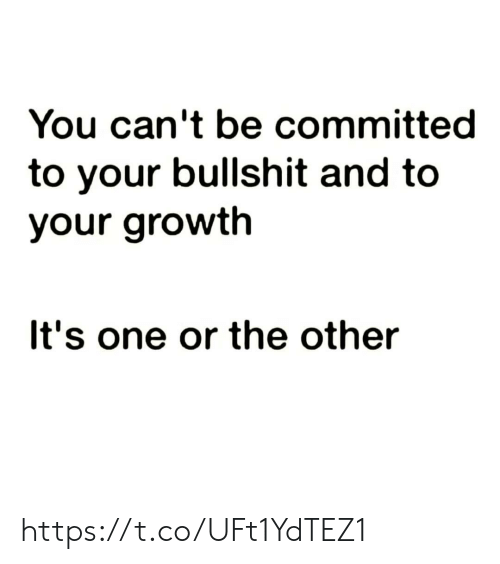 Growth: You can't be committed  to your bullshit and to  your growth  It's one or the other https://t.co/UFt1YdTEZ1