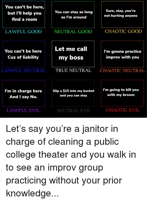 improv: You can't be here,  but I'll help you  find a room  Sure, stay, you're  not hurting anyone  You can stay as long  as I'm around  LAWFUL GOOD  NEUTRAL GOOD  CHAOTIC GOOD  Let me call  You can't be here  Cuz of liability  I'm gonna practice  improv with you  my boss  LAWFUL NEUTRALTRUE NEUTRAL  CHAOTIC NEUTRAL  I'm in charge here  And I say No.  Slip a $15 into my bucket  and you can stay  I'm going to kill you  with my broom  LAWFUL EVIL  NEUTRAL EVIL  CHAOTIC EVIL Let's say you're a janitor in charge of cleaning a public college theater and you walk in to see an improv group practicing without your prior knowledge...