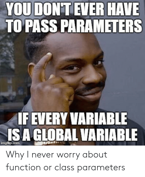 Never, Com, and Class: YOU DON'T EVER HAVE  TO PASS PARAMETERS  IF EVERY VARIABLE  IS A GLOBAL VARIABLE  imgflip.com Why I never worry about function or class parameters
