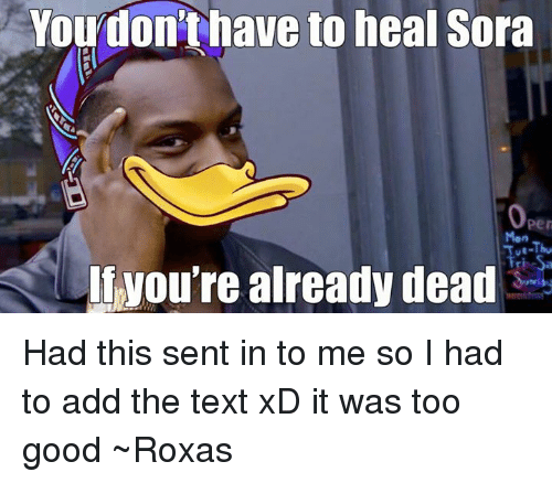 sora: You don't have to heal Sora  you're already dead Had this sent in to me so I had to add the text xD it was too good ~Roxas