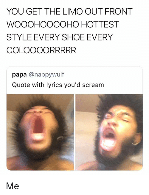 Lyrics, Quote, and Shoe: YOU GET THE LIMO OUT FRONT  WOOOHOOOOHO HOTTEST  STYLE EVERY SHOE EVERY  COLOOOORRRRR  papa @nappywulf  Quote with lyrics you'd screarm Me