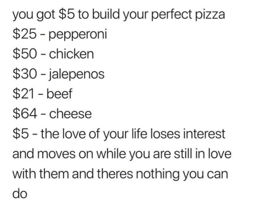 Build Your: you got $5 to build your perfect pizza  $25 - pepperoni  $50 - chicken  $30 -jalepenos  $21 - beef  $64 - cheese  $5 - the love of your life loses interest  and moves on while you are still in love  with them and theres nothing you can