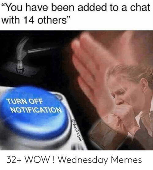 """Memes, Wow, and Chat: """"You have been added to a chat  with 14 others""""  TURN OFF  NOTIFICATION 32+ WOW ! Wednesday Memes"""