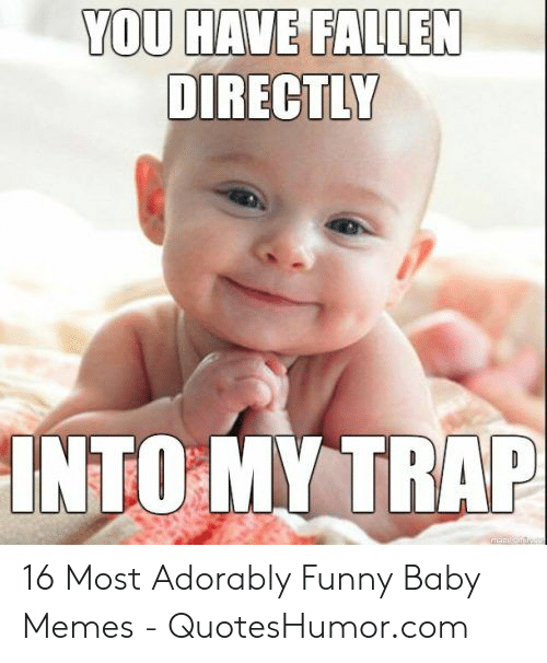 Funny, Memes, and Trap: YOU HAVE FALLEN  DIRECTLY  INTO MY TRAP 16 Most Adorably Funny Baby Memes - QuotesHumor.com